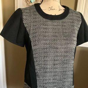 Madewell Textured Tribune Dress Black Gray Short